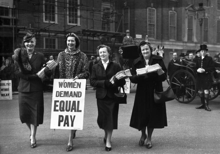 Women MPs delivering a a petition of 80,000 signatures supporting equal pay for women to the House of Commons in March 1954. Left to right, Dr Edith Summerskill MP for Fulham West, Patricia Ford ,Barbara Castle (Blackburn) and Irene Ward (Tynemouth).
